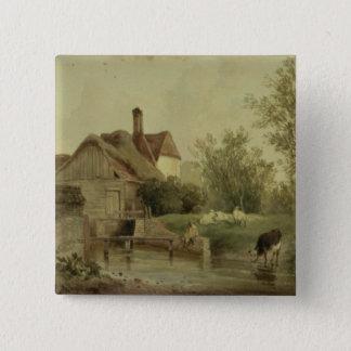 Landscape with a cottage 15 cm square badge