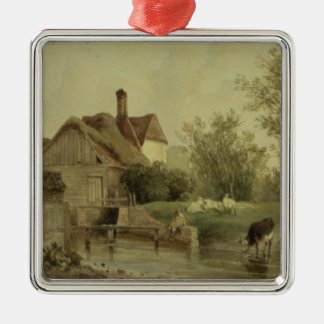Landscape with a cottage christmas ornament