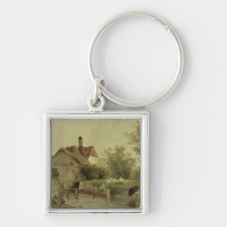 Landscape with a cottage key ring