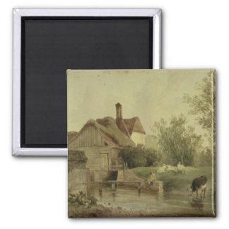 Landscape with a cottage square magnet