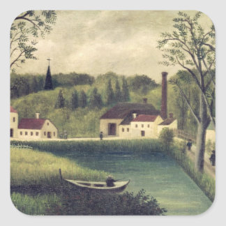 Landscape with a Fisherman, after 1886 Square Stickers