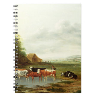 Landscape with a Herdsman and Cattle (oil on canva Notebook