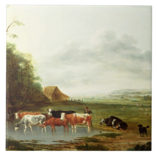 Landscape with a Herdsman and Cattle (oil on canva Tile