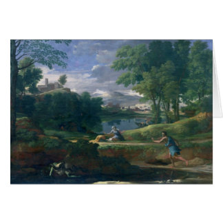 Landscape with a Man killed by a Snake, c.1648 Card