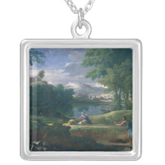 Landscape with a Man killed by a Snake, c.1648 Silver Plated Necklace