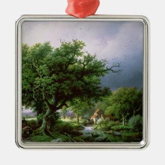 Landscape with a Mill Silver-Colored Square Decoration