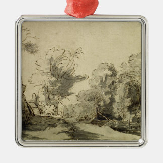 Landscape with a path,almost dead tree on left Silver-Colored square decoration