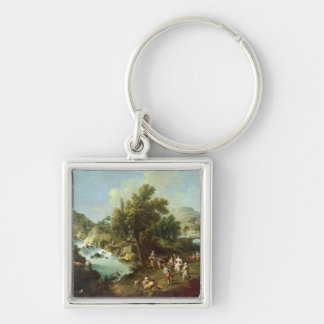 Landscape with a River and Dancing Peasants (oil o Silver-Colored Square Key Ring