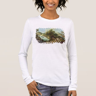 Landscape with a River and Dancing Peasants (oil o Long Sleeve T-Shirt