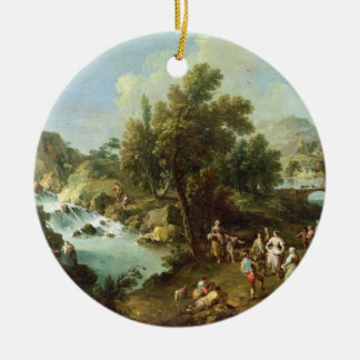 Landscape with a River and Dancing Peasants (oil o Round Ceramic Decoration