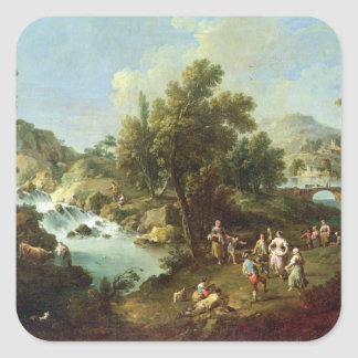 Landscape with a River and Dancing Peasants (oil o Square Sticker
