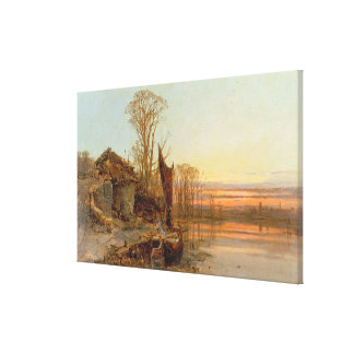 Landscape with a Ruined Cottage at Sunset, 1898 Canvas Print