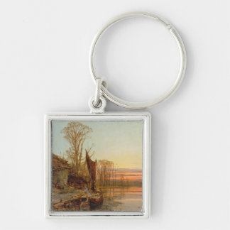 Landscape with a Ruined Cottage at Sunset, 1898 Keychains