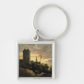 Landscape with a Tower (oil on canvas) Key Ring