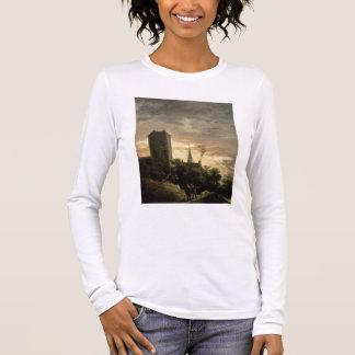 Landscape with a Tower (oil on canvas) Long Sleeve T-Shirt