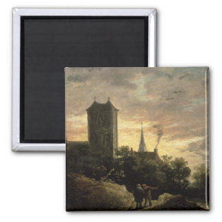 Landscape with a Tower (oil on canvas) Magnet
