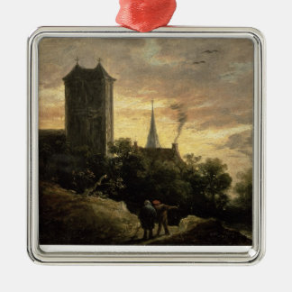 Landscape with a Tower (oil on canvas) Silver-Colored Square Decoration
