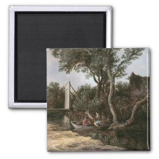 Landscape with Bridge, c.1628 Square Magnet