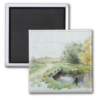 Landscape with bridge over a stream square magnet