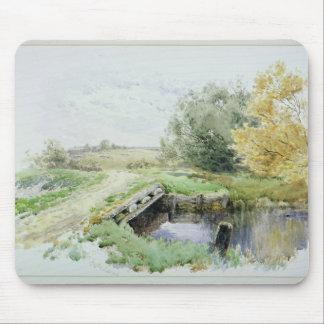 Landscape with bridge over a stream mouse mat