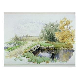 Landscape with bridge over a stream postcard