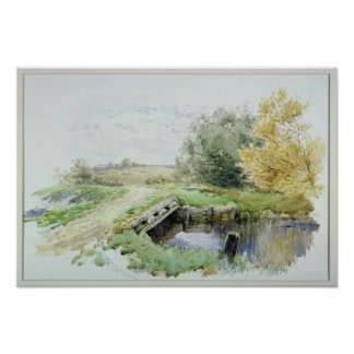Landscape with bridge over a stream poster