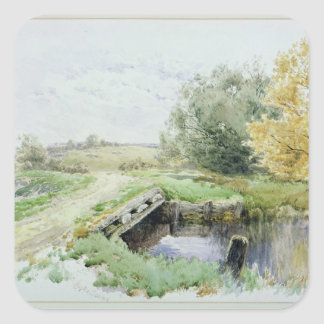 Landscape with bridge over a stream square sticker