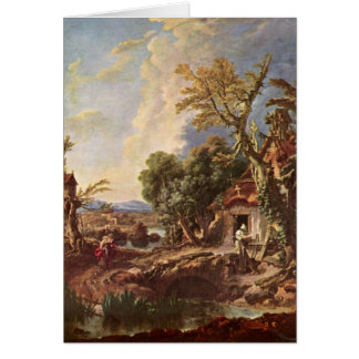 Landscape With Brother Lucas By Francois Boucher Greeting Cards
