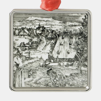 Landscape with Cannon, 1518 Silver-Colored Square Decoration