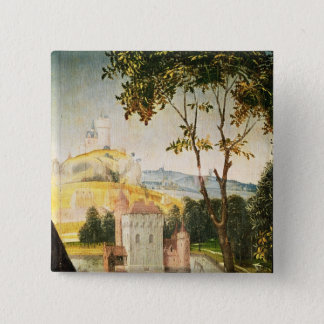 Landscape with castle in a moat and two swans 15 cm square badge