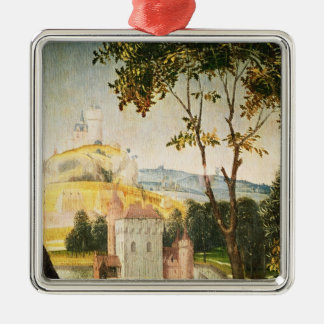 Landscape with castle in a moat and two swans christmas ornament