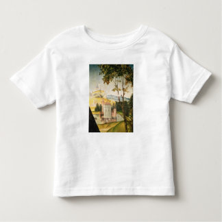Landscape with castle in a moat and two swans toddler T-Shirt