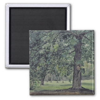 Landscape with Chestnut Tree in the Foreground Square Magnet