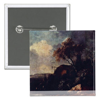 Landscape With Cottage By The River 15 Cm Square Badge