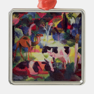 Landscape with Cows and a Camel Silver-Colored Square Decoration
