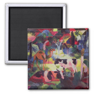 Landscape with Cows and a Camel Square Magnet