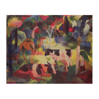 Landscape with Cows and a Camel Wood Print