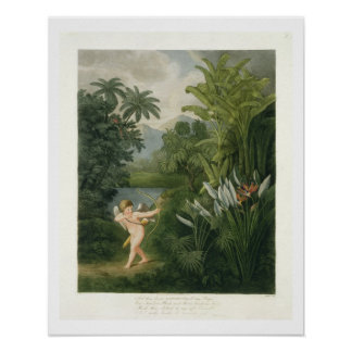 Landscape with Cupid aiming an arrow at a Parrot o Poster
