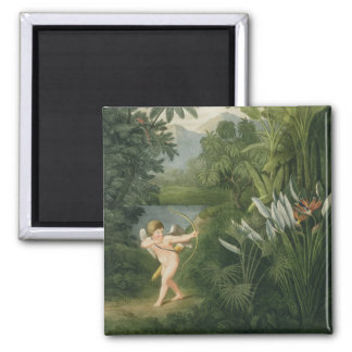 Landscape with Cupid aiming an arrow at a Parrot o Square Magnet