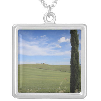 Landscape with Cypress Silver Plated Necklace