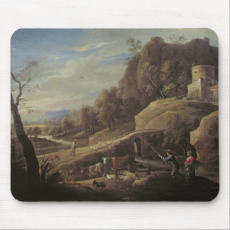 Landscape with Farmers tending their Animals Mouse Mat