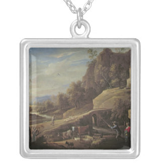 Landscape with Farmers tending their Animals Silver Plated Necklace