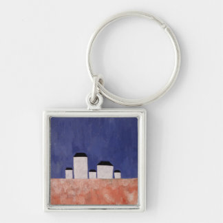 Landscape with Five Houses, c.1932 Silver-Colored Square Key Ring