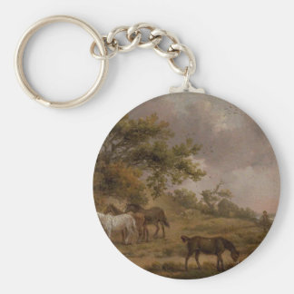 Landscape with Four Horses by George Morland Basic Round Button Key Ring