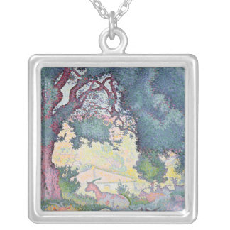 Landscape with Goats, 1895 Silver Plated Necklace