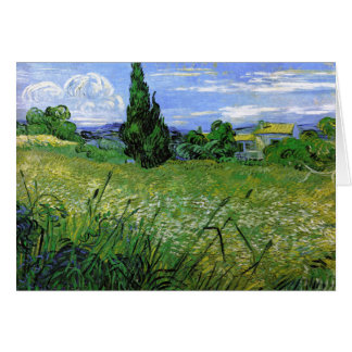 Landscape with Green Corn, Vincent Van Gogh Card