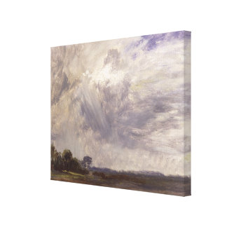 Landscape with Grey Windy Sky, c.1821-30 (oil on p Stretched Canvas Print