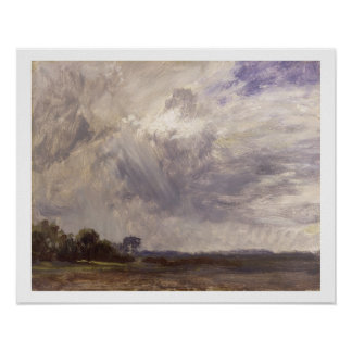 Landscape with Grey Windy Sky, c.1821-30 (oil on p Poster