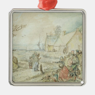 Landscape with Gypsy Fortune-Tellers Silver-Colored Square Decoration