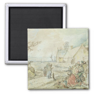 Landscape with Gypsy Fortune-Tellers Square Magnet